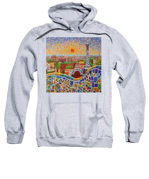 Barcelona Sunrise Light - View From Park Guell Of Gaudi - Square Format Sweatshirt