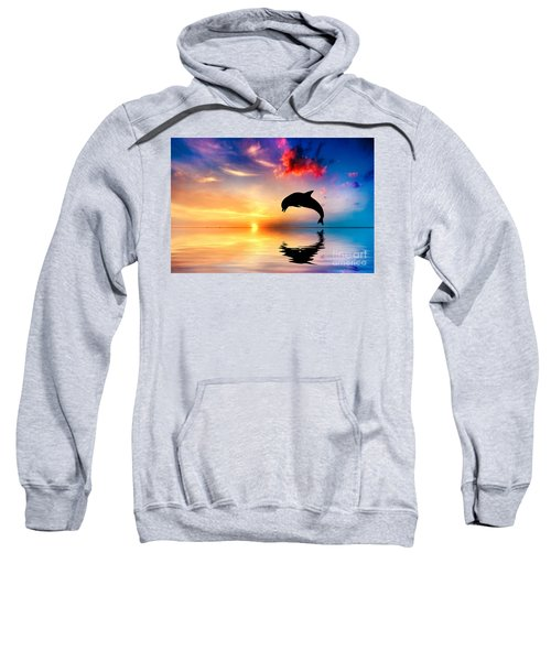 Beautiful Ocean And Sunset With Dolphin Jumping Sweatshirt