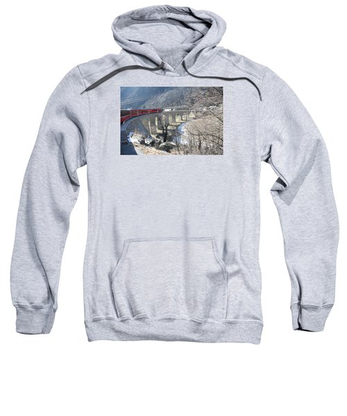 Sweatshirt featuring the photograph Bernina Express In Winter by Travel Pics