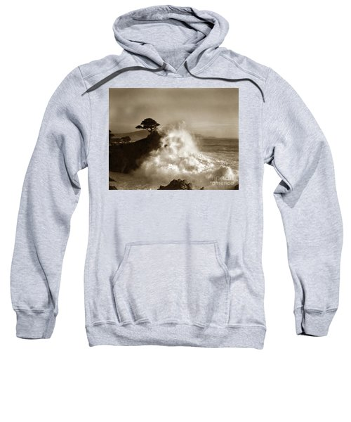 Big Wave Hitting The Lone Cypress Tree Pebble Beach California 1916 Sweatshirt