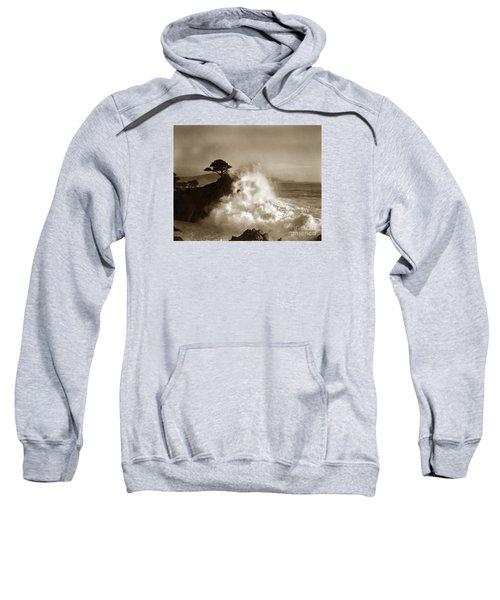 Big Wave Hitting The Lone Cypress Tree Pebble Beach California 1916 Sweatshirt