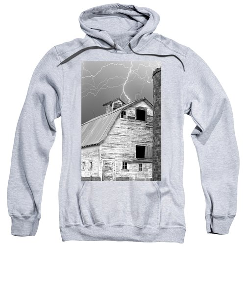 Black And White Old Barn Lightning Strikes Sweatshirt
