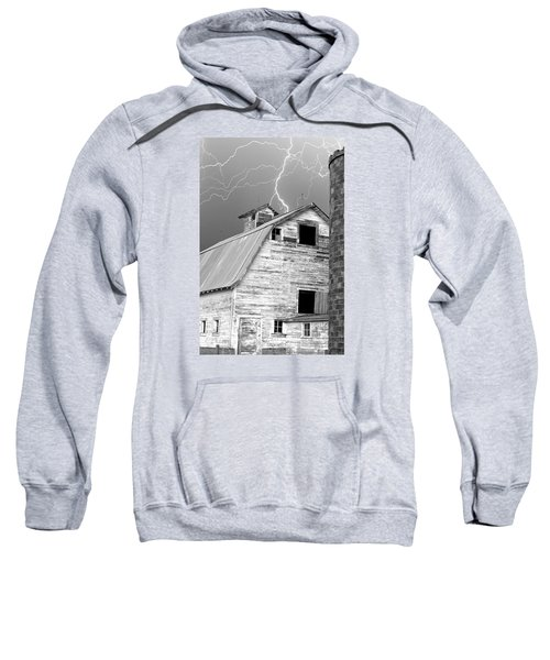 Black And White Old Barn Lightning Strikes Sweatshirt