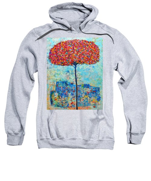 Blooming Beyond Known Skies - The Tree Of Life - Abstract Contemporary Original Oil Painting Sweatshirt