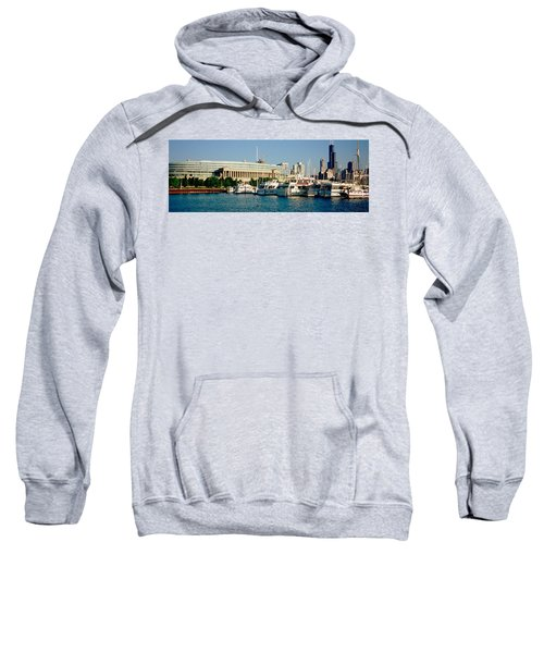 Boats Moored At A Dock, Chicago Sweatshirt by Panoramic Images