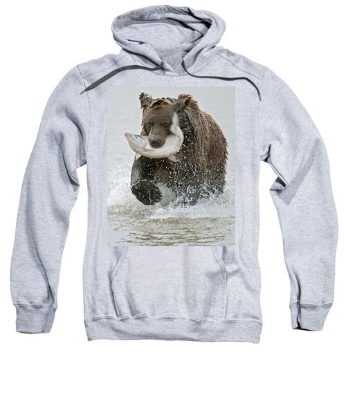 Brown Bear With Salmon Catch Sweatshirt