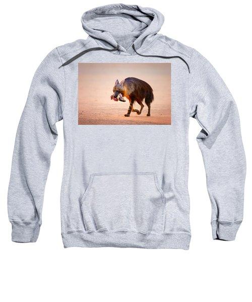 Brown Hyena With Bat-eared Fox In Jaws Sweatshirt
