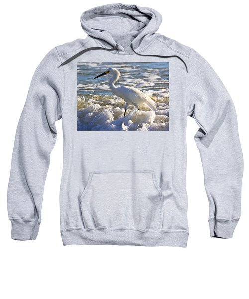 Bubbles Around Snowy Egret Sweatshirt