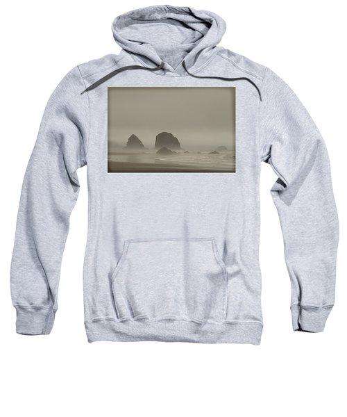 Sweatshirt featuring the photograph Cannon Beach In A Fog Oregon by Yulia Kazansky