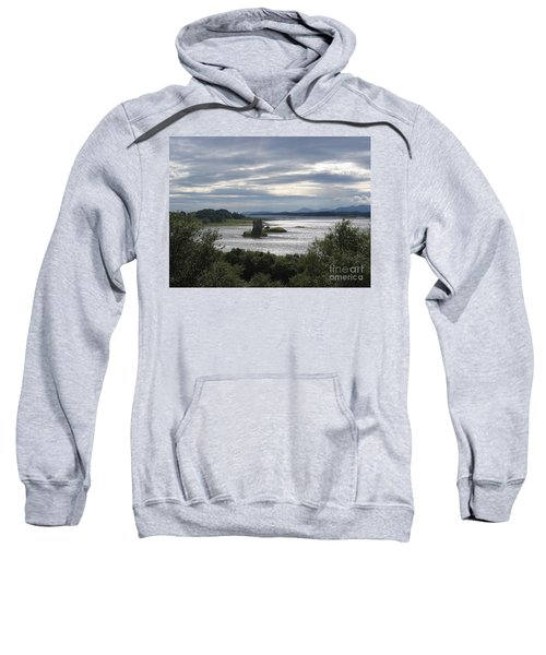 Sweatshirt featuring the photograph Castle Stalker On Loch Laiche by Denise Railey