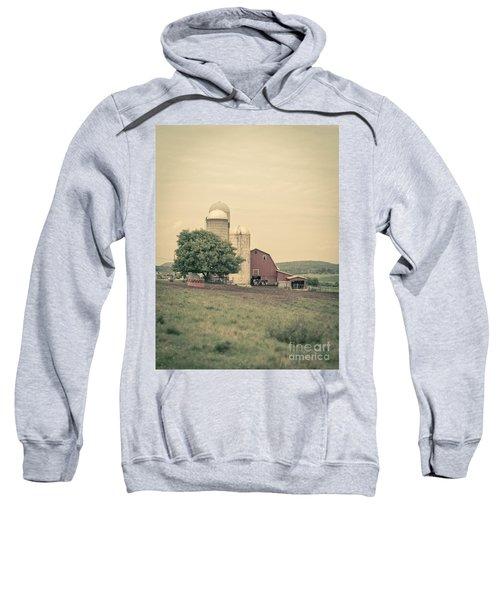 Classic Farm With Red Barn And Silos Sweatshirt