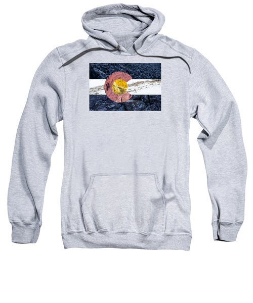 Sweatshirt featuring the photograph Colorado State Flag With Mountain Textures by Aaron Spong