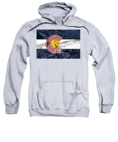 Colorado State Flag With Mountain Textures Sweatshirt