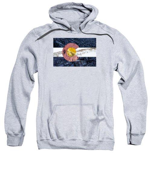 Colorado State Flag With Mountain Textures Sweatshirt