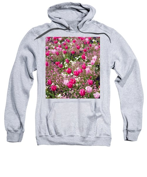 Colorful Pink Tulips And Other Flowers In Spring Sweatshirt by Matthias Hauser