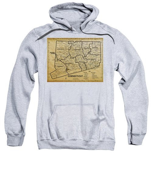 Connecticut On Aged Parchment Map Sweatshirt