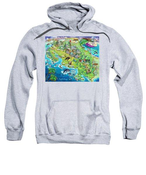 Costa Rica Map Illustration Sweatshirt