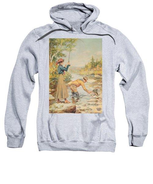 Couple Fishing On A River Sweatshirt