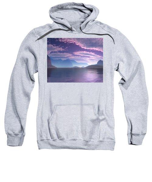 Sweatshirt featuring the digital art Crescent Bay Alien Landscape by Judi Suni Hall