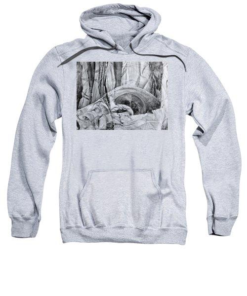 Das Monster Hat Sich Im Ungebuegelten Hintergrund Versteckt Sweatshirt