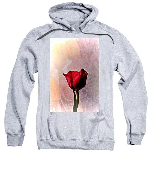 Deep Red Tulip On Pale Tulip Background Sweatshirt