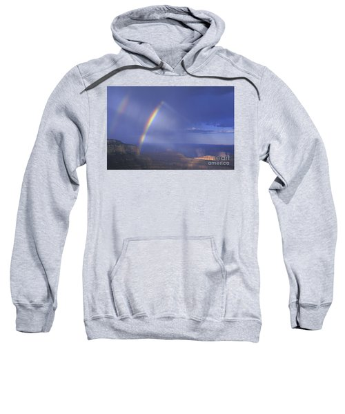 Double Rainbow At Cape Royal Grand Canyon National Park Sweatshirt