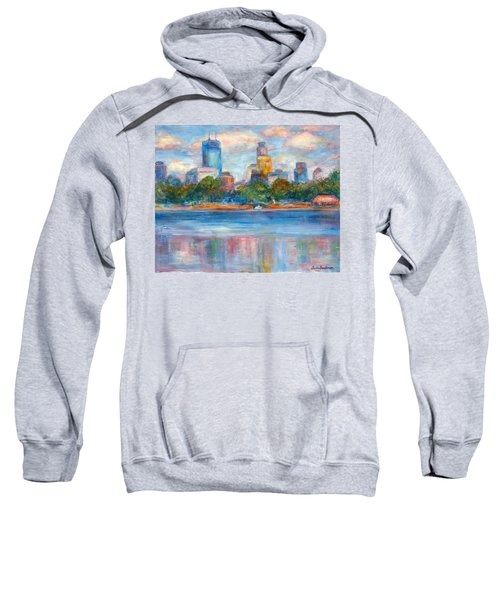 Downtown Minneapolis Skyline From Lake Calhoun II - Or Commission Your City Painting Sweatshirt