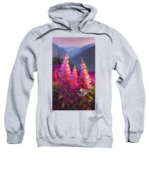 Eagle River Summer Chickadee And Fireweed Alaskan Landscape Sweatshirt