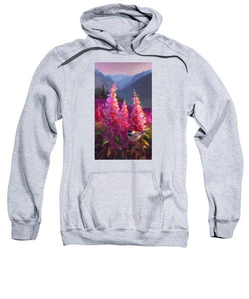 Eagle River Summer Chickadee And Fireweed Alaskan Landscape Sweatshirt