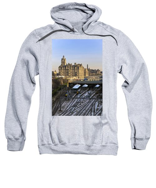 Sweatshirt featuring the photograph Edinburgh Winter Arrival by Ross G Strachan