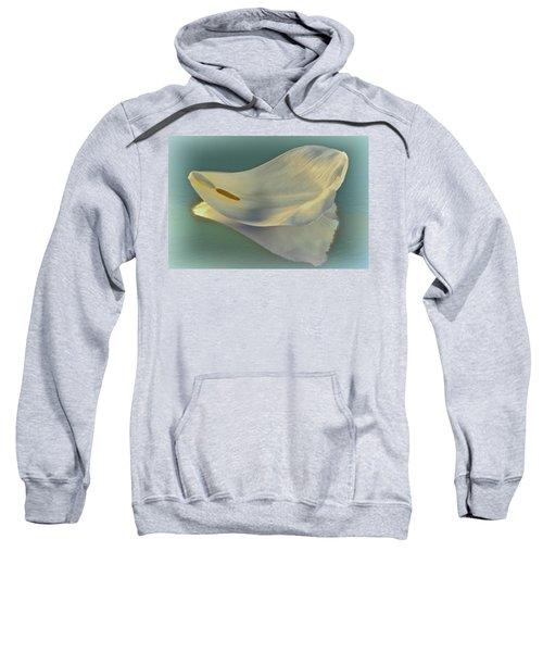 Fallen White Petal On Aqua Sweatshirt