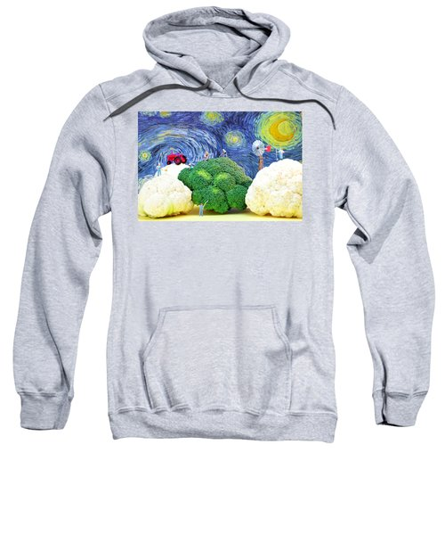 Farming On Broccoli And Cauliflower Under Starry Night Sweatshirt by Paul Ge