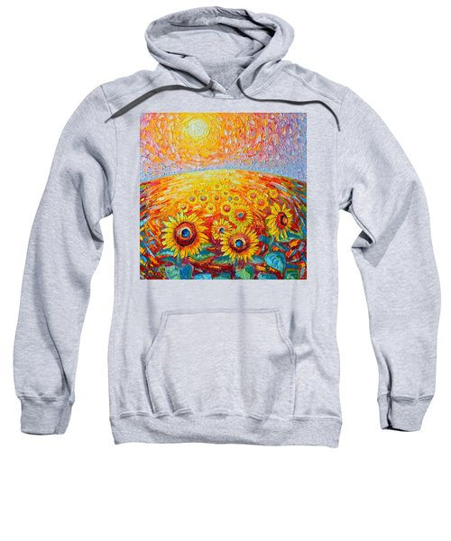 Fields Of Gold - Abstract Landscape With Sunflowers In Sunrise Sweatshirt