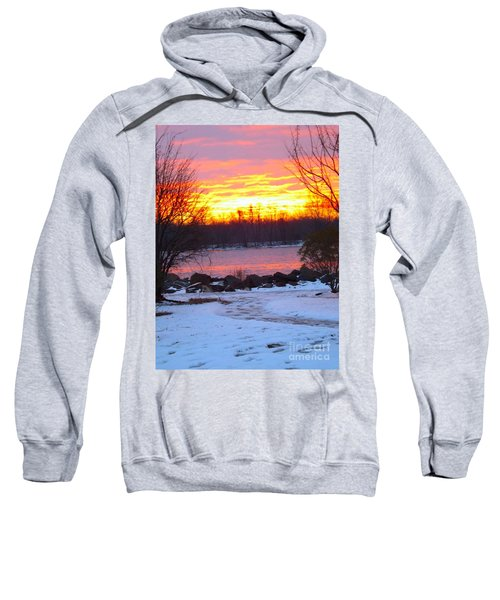 Fire And Ice Sunrise On The Delaware River Sweatshirt