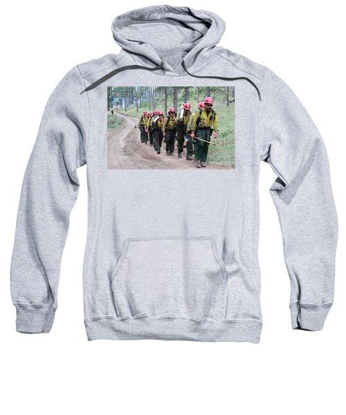Fire Crew Walks To Their Assignment On Myrtle Fire Sweatshirt