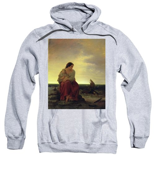 Fishermans Wife Mourning On The Beach Oil On Canvas Sweatshirt