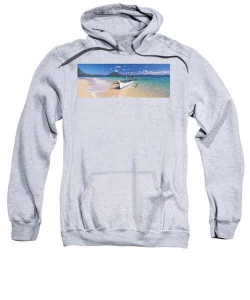 Fishing Boat Moored On The Beach Sweatshirt
