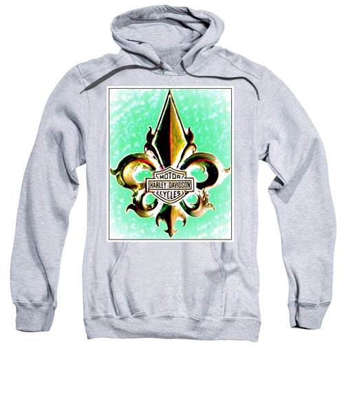 Fleurs De Lys And Harley Davidson Logo Bronze Green Sweatshirt