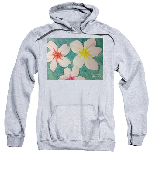 Sweatshirt featuring the painting Floating Plumeria by Denise Railey