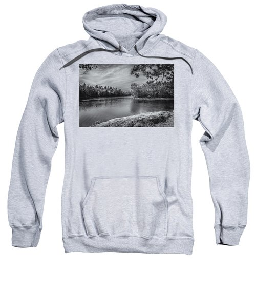 Sweatshirt featuring the photograph Fork In River Bw by Mark Myhaver