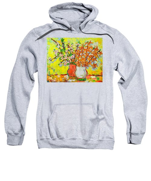 Forsythia And Cherry Blossoms Spring Flowers Sweatshirt