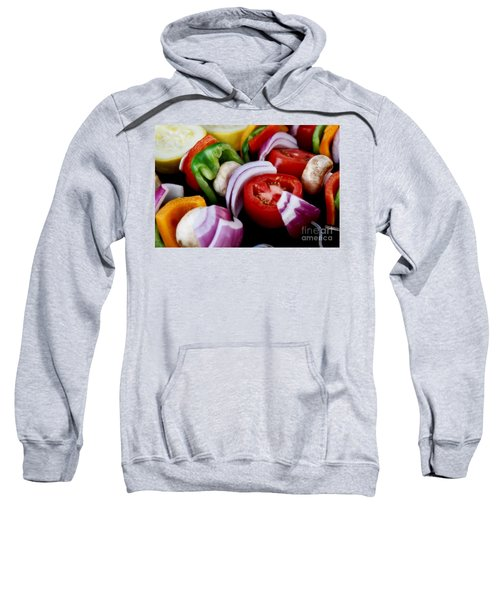 Fresh Veggie Kabobs On The Grill Sweatshirt by Peggy Hughes