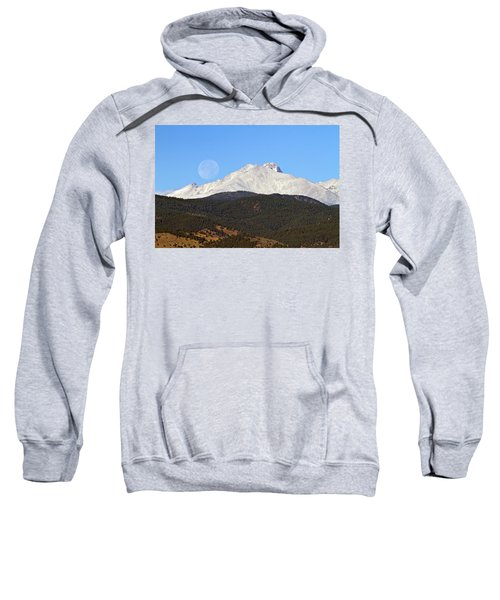 Full Moon Setting Over Snow Covered Twin Peaks  Sweatshirt
