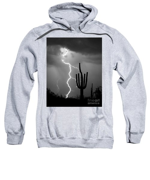 Giant Saguaro Cactus Lightning Strike Bw Sweatshirt by James BO  Insogna