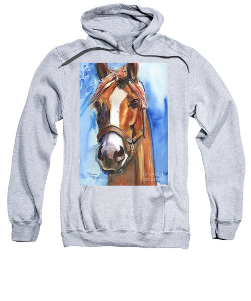 Horse Painting Of California Chrome Go Chrome Sweatshirt by Maria's Watercolor