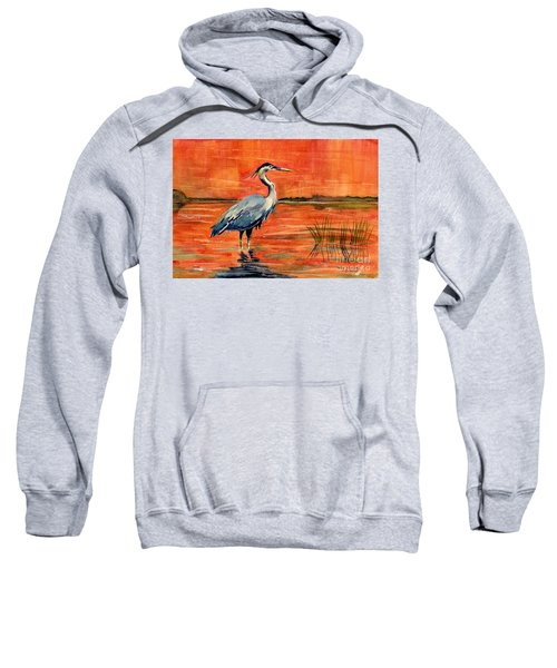 Great Blue Heron In Marsh Sweatshirt