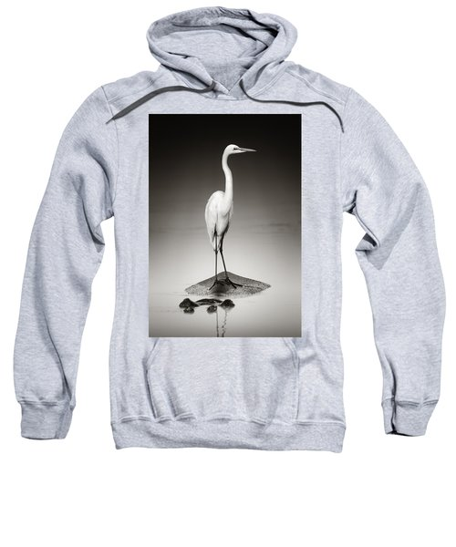 Great White Egret On Hippo Sweatshirt by Johan Swanepoel