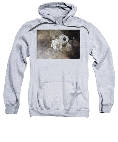 Grunge White Rose Sweatshirt