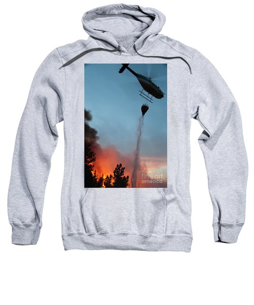 Helicopter Drops Water On White Draw Fire Sweatshirt