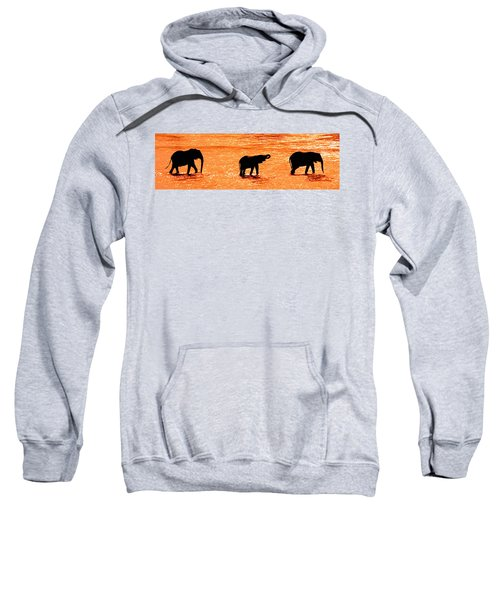 Herd Of African Elephants Loxodonta Sweatshirt
